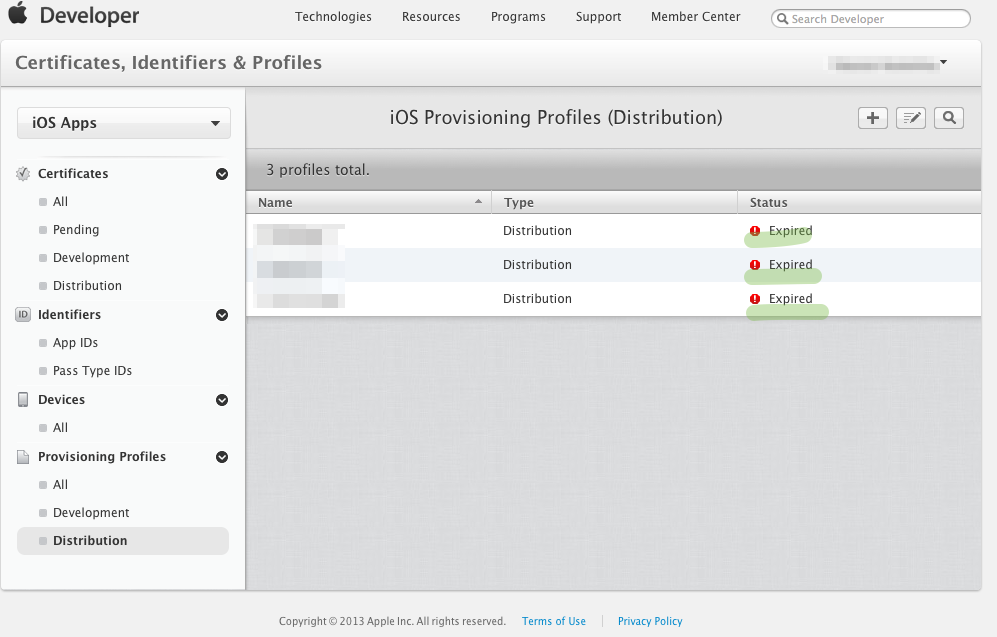 iOS Provisioning Profiles (Distribution)
